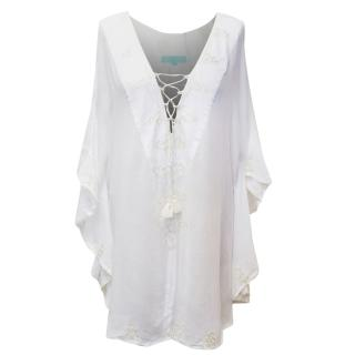Melissa Odabash White Embroidered Kaftan