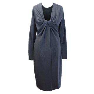Donna Karan Grey Wool Dress With Gathered Detail
