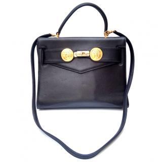 Gianni Versace Vintage Black Leather Kelly Style Bag