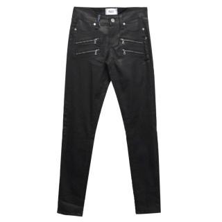 Paige Black Silk Coated Edgemont Skinny Jeans