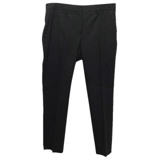 Acne Black Tapered Wool Blend Trousers