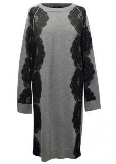 Lanvin Grey Angora Blend Dress With Lace Details