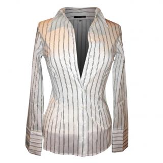 Walter Voulaz White shirt with silver lamee stripes