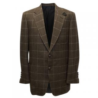 Tom Ford Mens Brown Wool Check Blazer