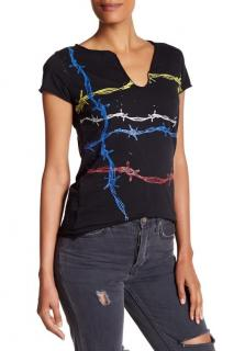 Zadig & Voltaire Black Barbed Wire Print T Shirt