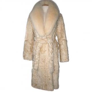 Adrienne Landau Lamb Coat with Fox Fur Collar