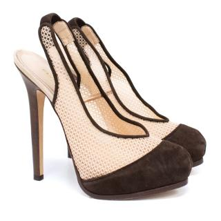 Fendi Brown Sling Back Pump Heels