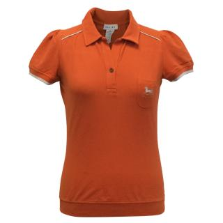 Celine Orange Polo Top