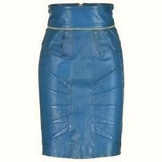 Matthew Williamson Butter-soft leather skirt in turquoise colour