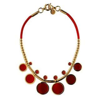 Dyrberg/Kern Gilded necklace with red Swarovski stones