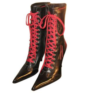 Gianmarco Lorenzi black boots with red detailing
