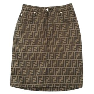 Vintage FENDI FF Logo Printed Nylon Pencil Mini Skirt