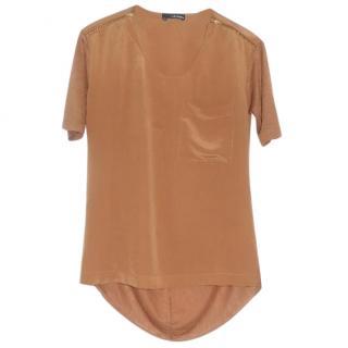 The Kooples brown silk top