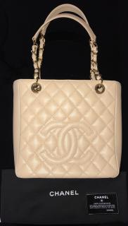 Chanel quilter beige caviar timeless shoulder tote