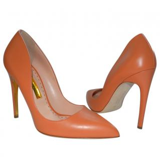 Rupert Sanderson Orange/Papaya Elba High Heel Leather Pumps