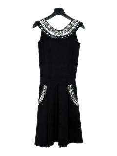 Temperley London black silk embellished dress