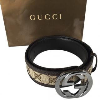 Gucci beige fabric logo belt