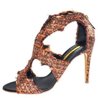 Rupert Sanderson Estelle Textile caged sandals