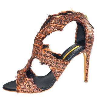 Rupert Sanderson Estelle Textile caged sandals