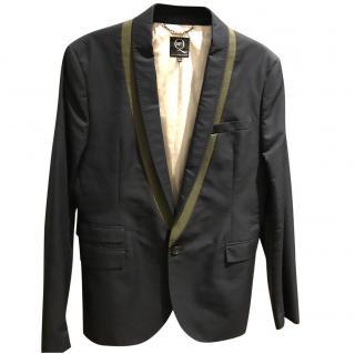 McQ by Alexander McQueen men's navy blazer with olive trim