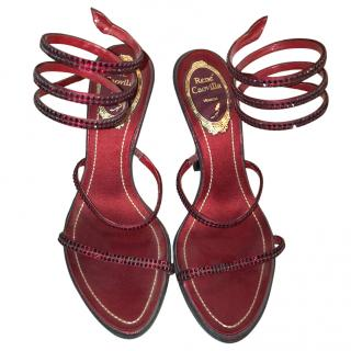 Rene Caovilla Red Gem Sandals