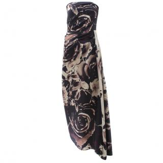 Talbot Runhof Strapless Floral Silk Dress