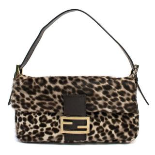 Fendi Animal Print Pony Hair and Leather Baguette