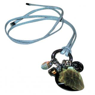 Dyrberg/Kern Leather choker with large crystal heart