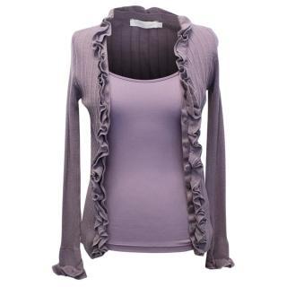 Anne Fontaine Purple Cardigan and Vest Set