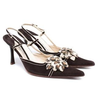 Luciano Padovan Brown Sling Back Pumps