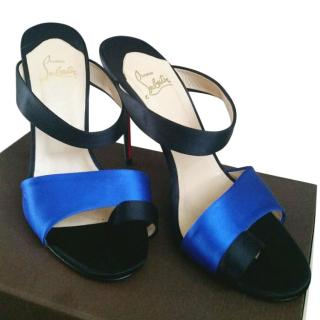 Christian Louboutin Royal Blue Satin Mules