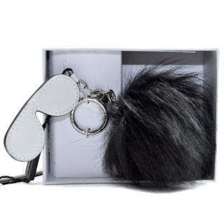 Michael Kors Leather Charm Fuzzy Shades Fluffy Keyring
