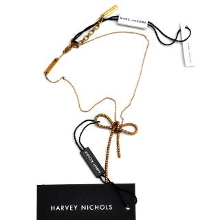 Marc Jacobs Twisted Rolled Antique Gold Bow Necklace
