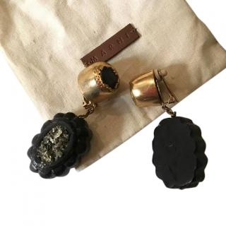 Marni wooden and pyrite earrings