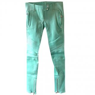 Balmain Pistachio Green Leather Trousers