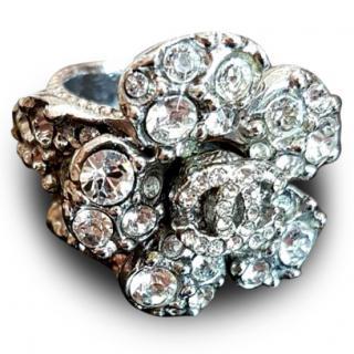 Chanel Camellia Flower CC Logo Swarovski Crystal Ring