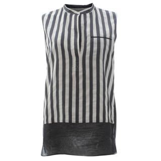 3.1 Phillip Lim Striped Organza-Panelled Poplin Top