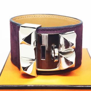 Hermes Prune Suede Collier de Chien CDC Bracelet PHW Large