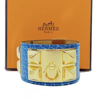 Hermes Blue Alligator Collier de Chien CDC Bracelet GHW Small
