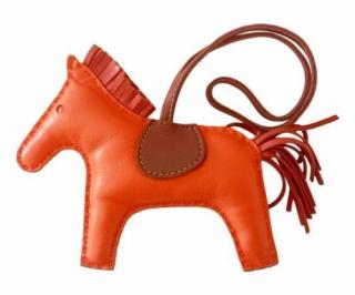 Hermes Rodeo Horse MM Lambskin Leather Bag Charm