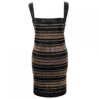 Balmain Black and Gold Embellished Mini Dress