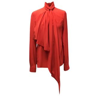 Givenchy Red Silk Blouse With Pussy Bow Tie