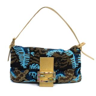 Fendi Beaded Baguette Bag With Gold Tone Trims