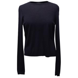 Christian Dior Navy Fine Knit Jumper With Pleated Back