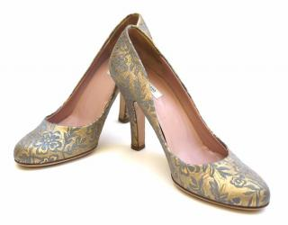 Prada Gold and Blue Embroidered Leather Pumps