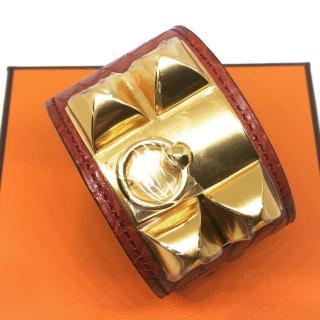 Hermes Matte Rouge Alligator Collier de Chien CDC Bracelet GHW Small