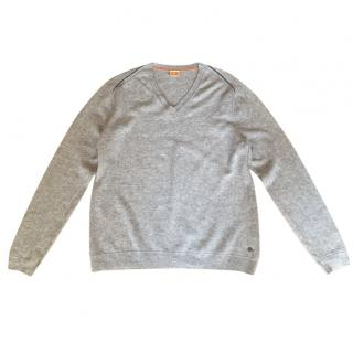 Boss Orange V Neck Grey Sweater