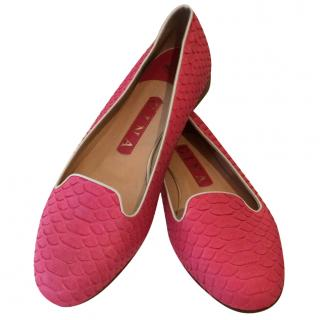 Gina Pink Python Skin Flats