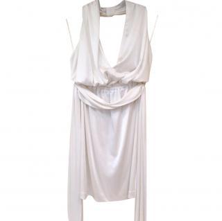 Halston Heritage White Halterneck Mini Dress
