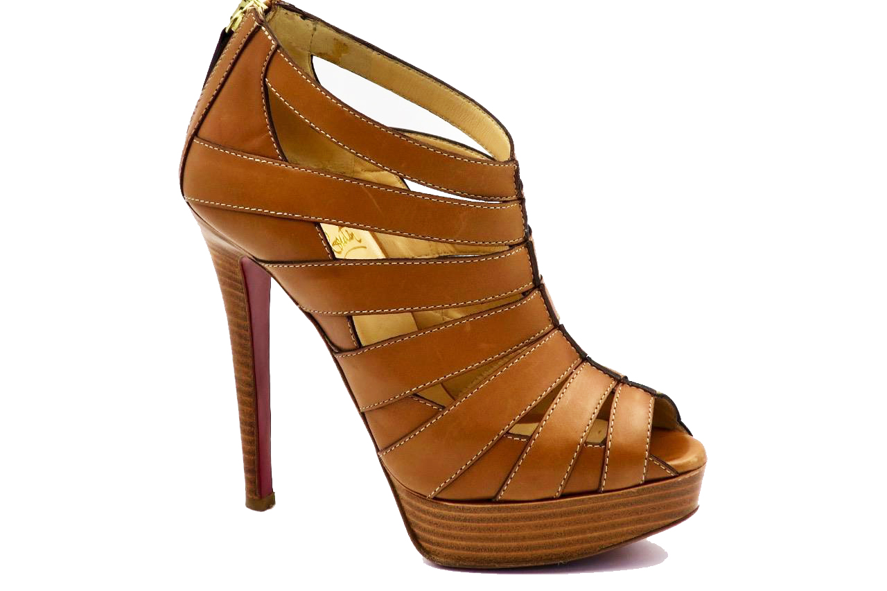 Christian Louboutin Brown Leather Peep-Toe Platform Cage Heels